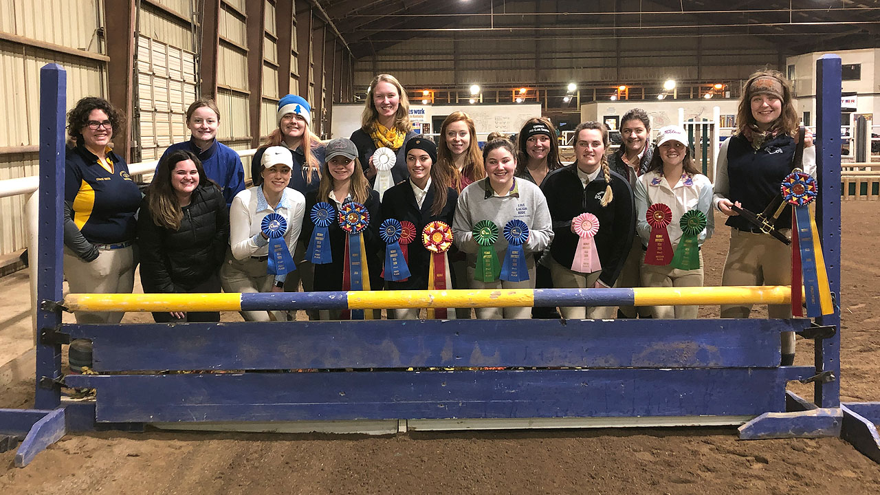 MSU Equestrian Team members at competition in Midway.