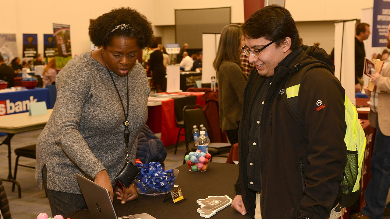 Students got an opportunity to network with professionals at the spring career fair.