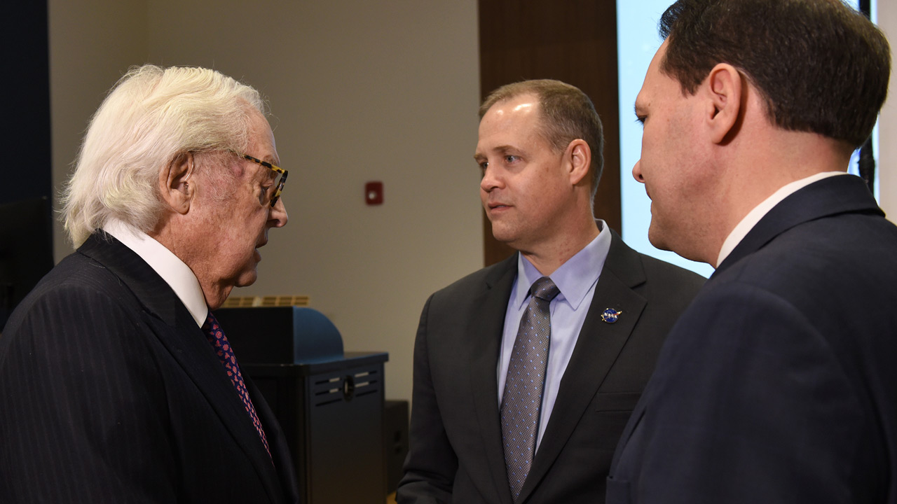 Left to right: Terry McBrayer, Administrator Jim Bridenstine and President Jay Morgan