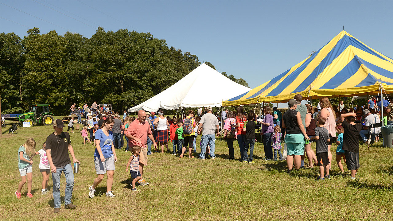 People enjoying the Browning Orchard Festival