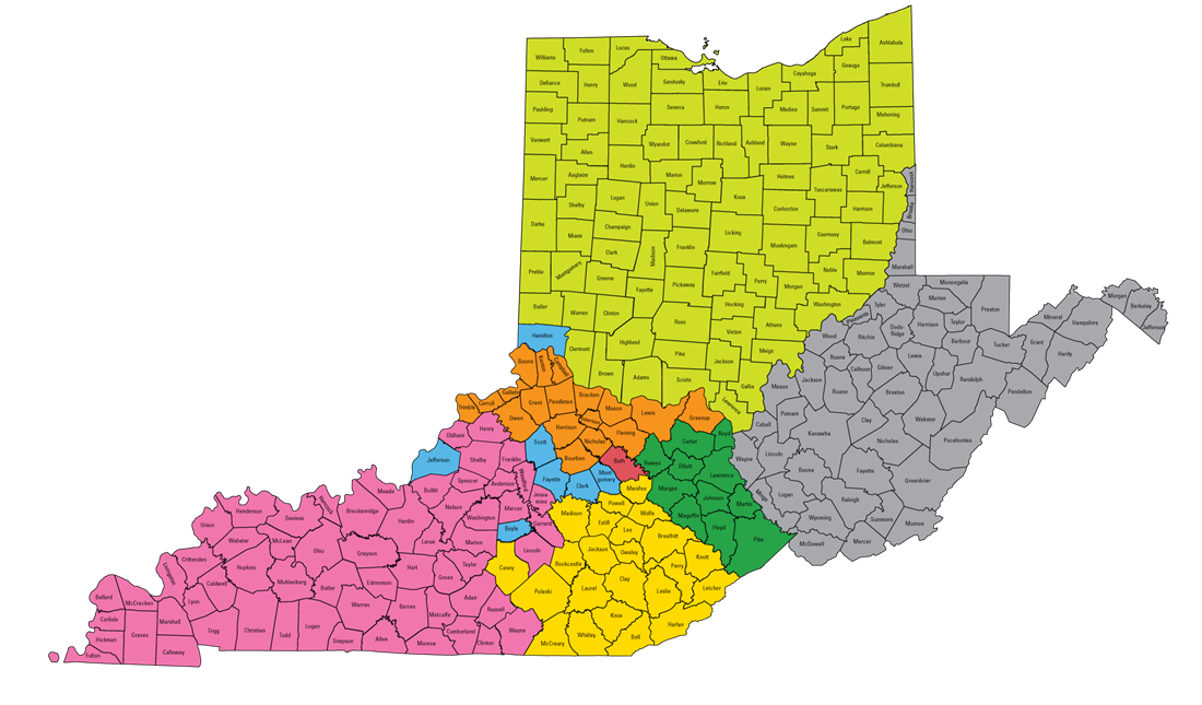 image of color-coded map of Kentucky, Ohio and West Virginia